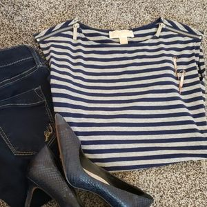 Zipper Shoulder Navy & Gray Striped Top